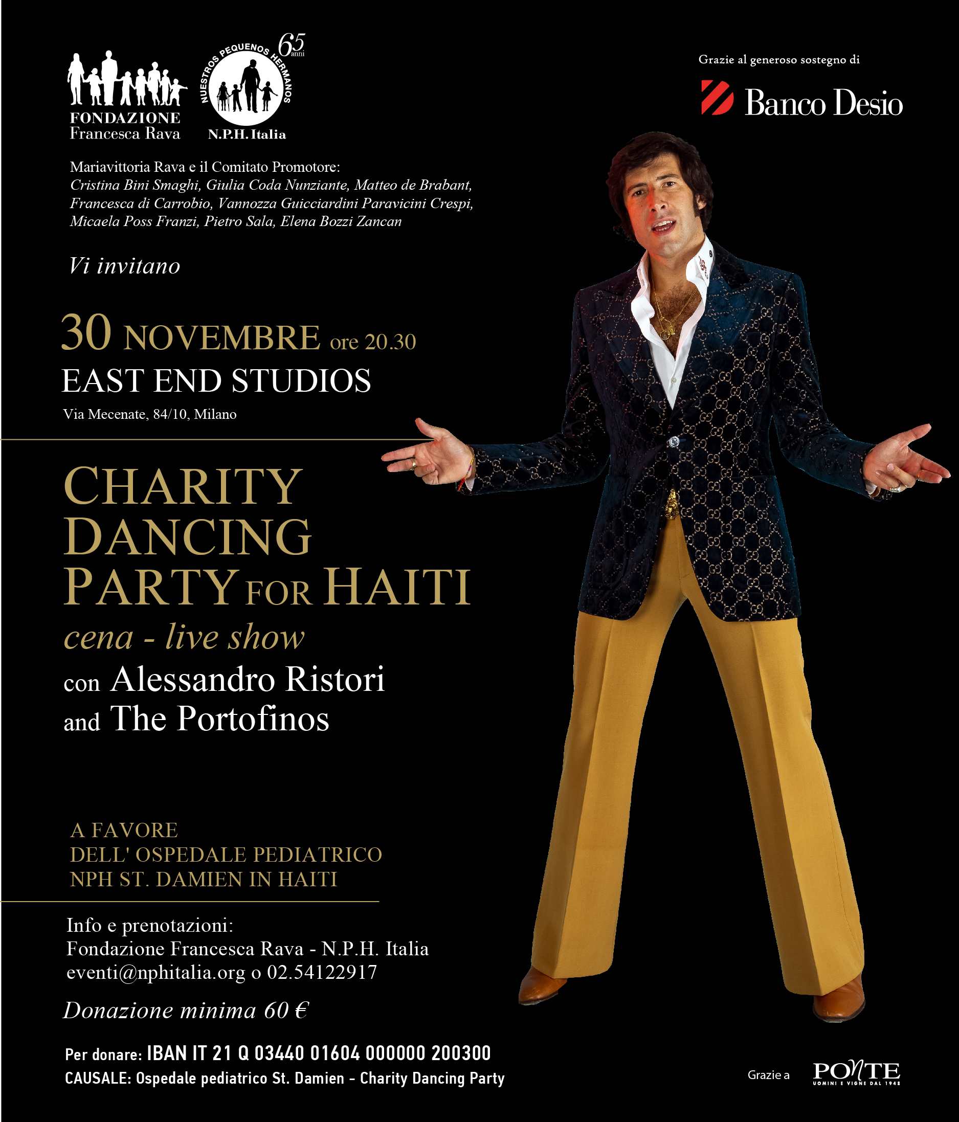 30 novembre, ore 20.30, Charity Dancing Party for Haiti agli East End Studios con Alessandro Ristori e The Portofinos!